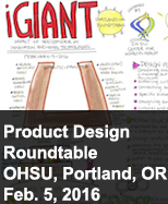 giant graphic with words product design roundtable meeting in Portalnd FEb 5, 2016