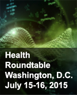science chemistry photo with words health roundtable meeting in Washington DC July 15-16, 2015