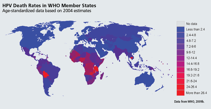 death from HPV by WHO member states 2004